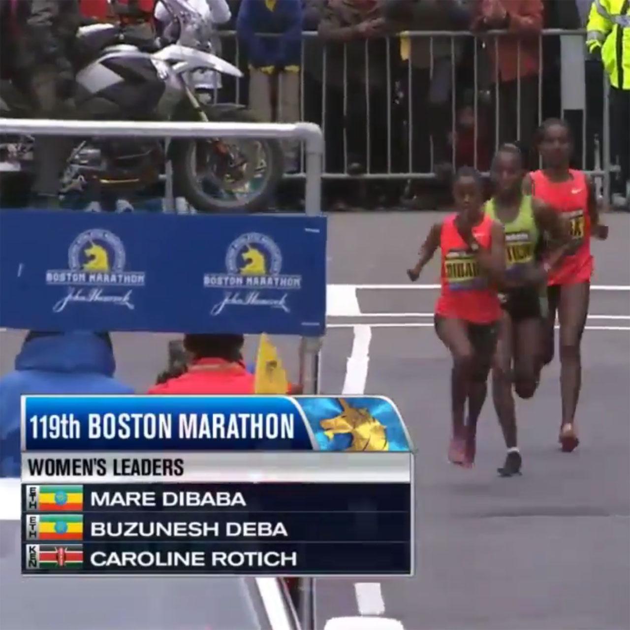 2015 Boston Marathon top three women: Caroline Rotich, Mare Dibaba and Buzunesh Deba