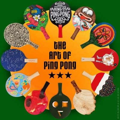 A scintillating sampling of table tennis paddles from The Art of Ping Pong auction