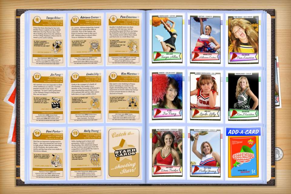Make your own custom cheerleader cards with Starr Cards.
