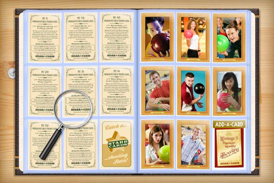Make your own custom bowling cards with Starr Cards.