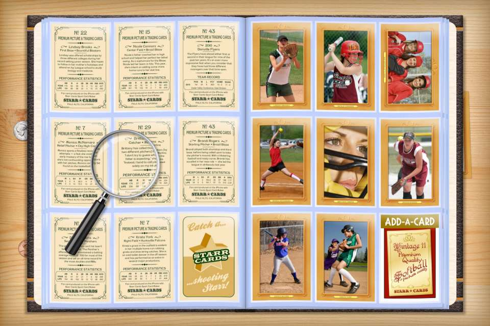 Make your own custom softball cards with Starr Cards.