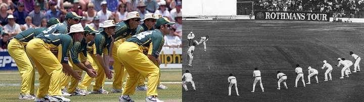 Australia demonstrates the use of nine slip fieldsmen