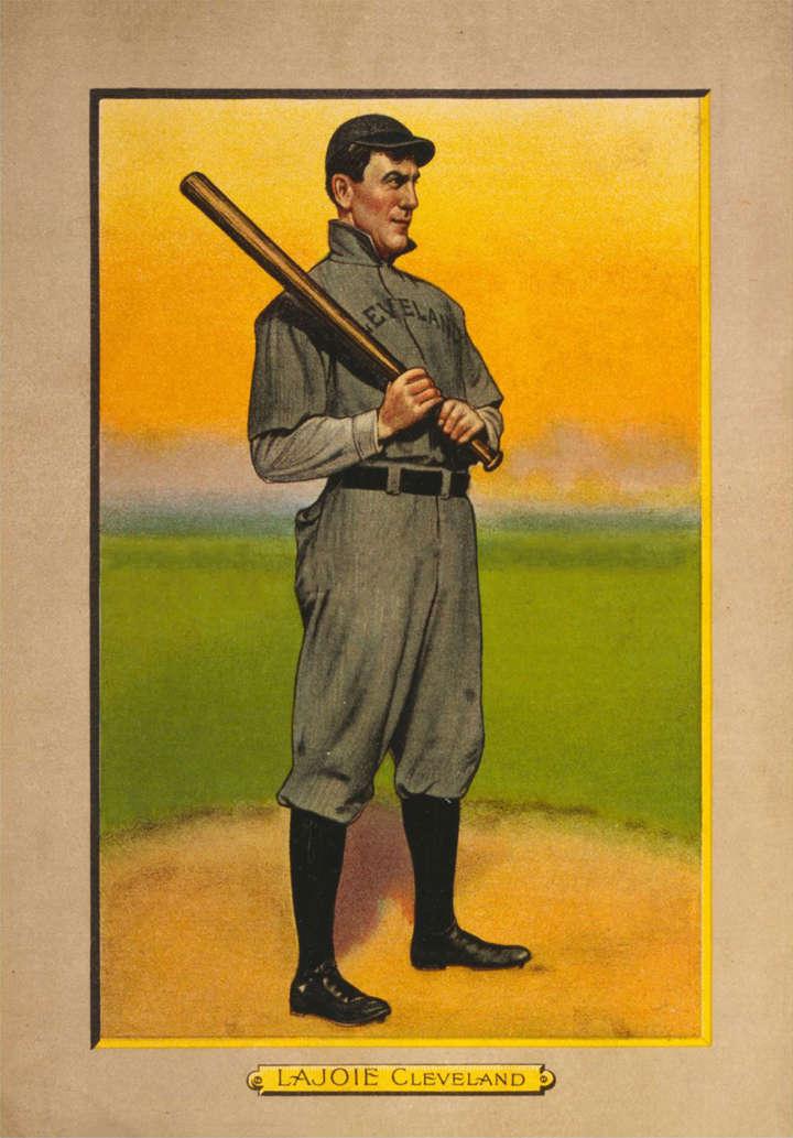Baseball card of Cleveland Indians second baseman Nap Lajoie