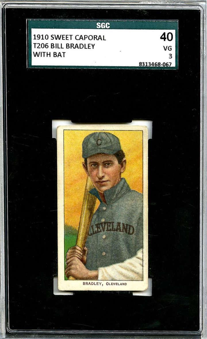 Baseball card of Cleveland Indians third baseman Bill Bradley