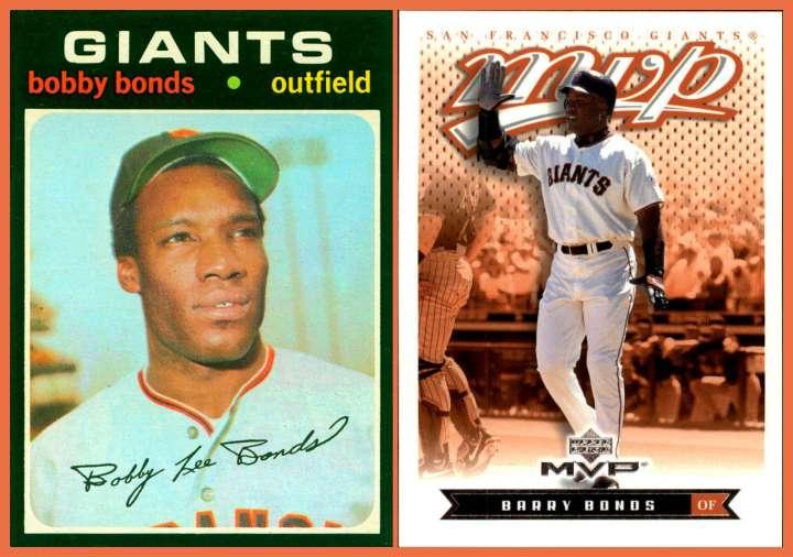 Baseball cards of SF Giants stars Bobby Bonds and son Barry Bonds