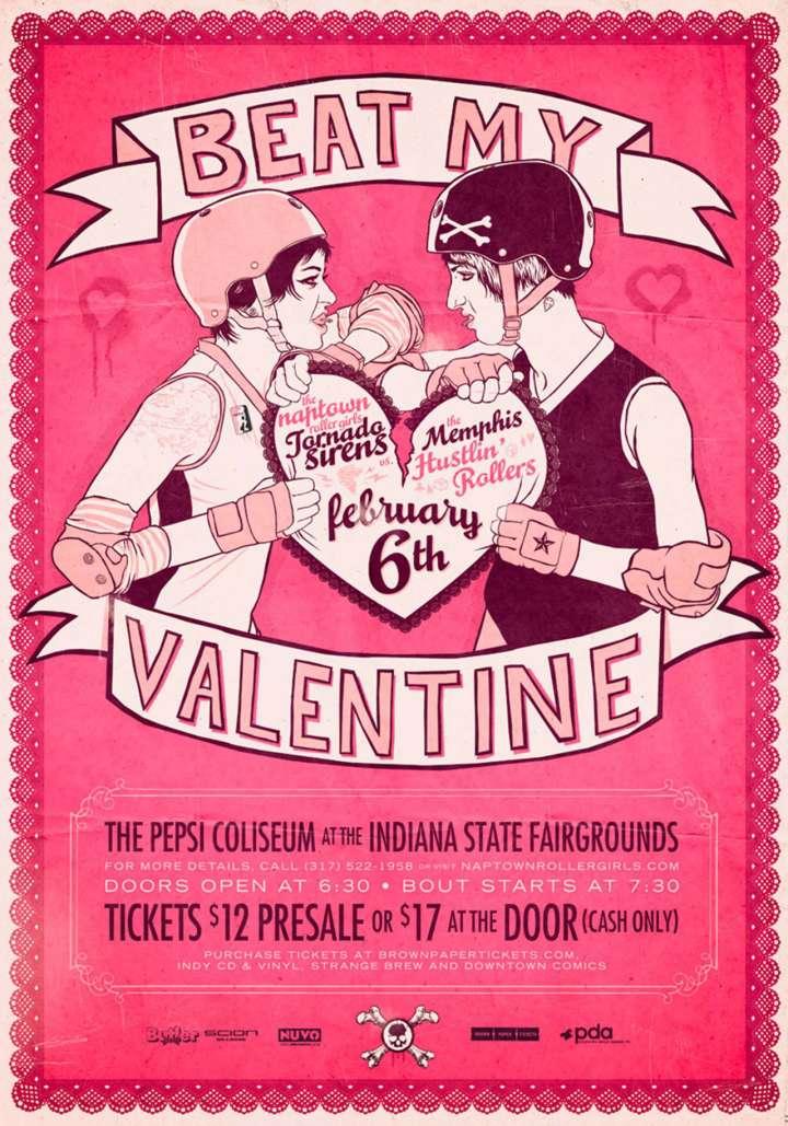 Beat My Valentine roller derby poster from Naptown Roller Girls
