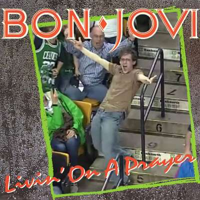 Boston Celtics fan Jeremy Fry entertains TD Garden crowd while dancing to Bon Jovi