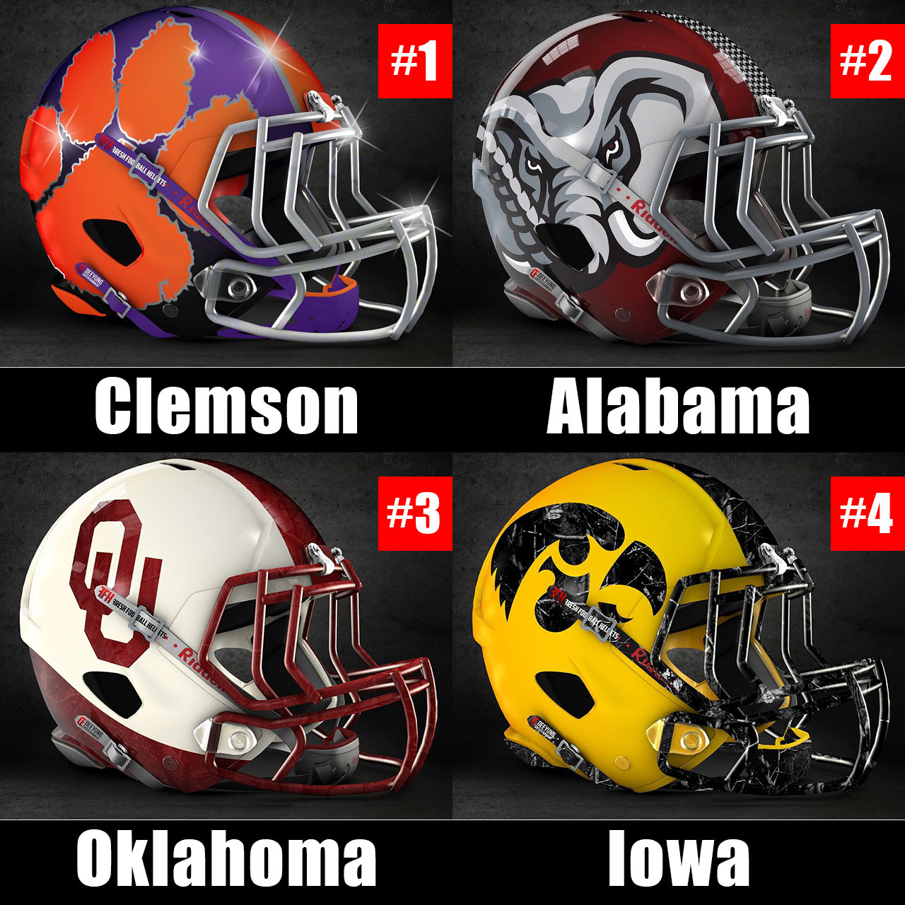 College Football Playoff Top Four with Tigers, Crimson Tide, Sooners, Hawkeyes