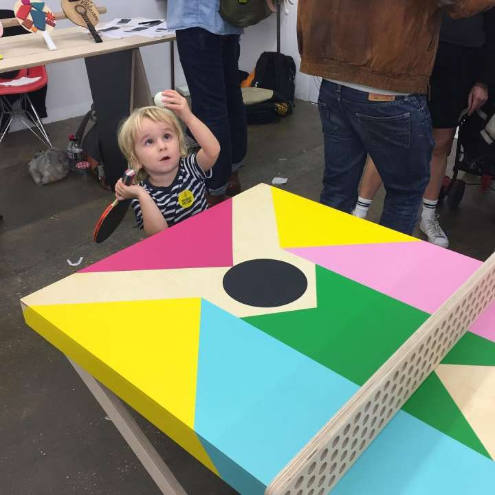 Colorful ping pong table art from Morag Myerscough