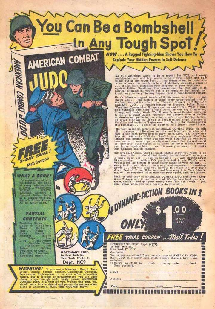 Comic book ad for American Combat Judo