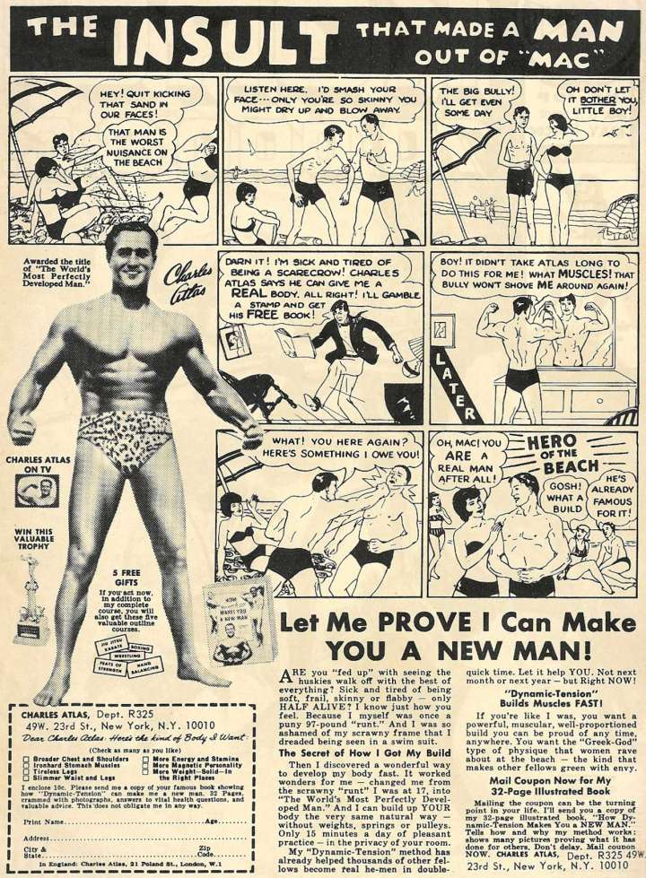 """Comic book ad for Charles Atlas' """"Dynamic Tension"""" system"""