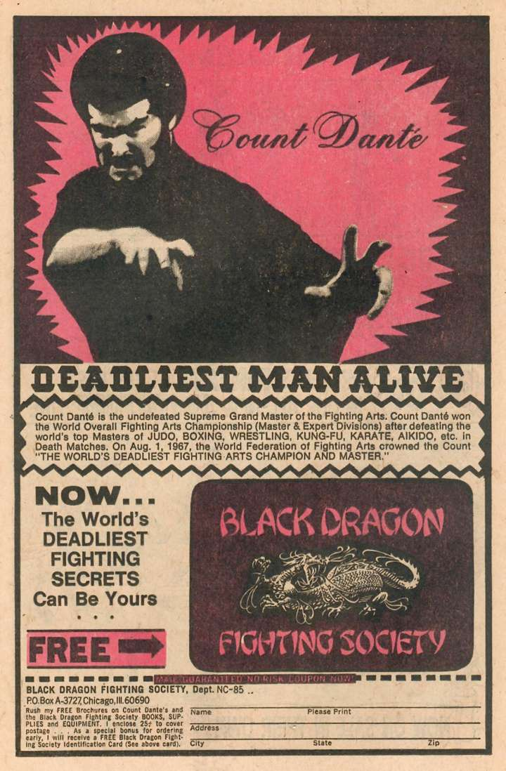 """Comic book ad for """"Deadliest Man Alive"""" Count Dante"""