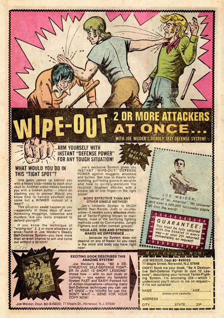 Comic book ad for Joe Weider's Deadly Self-Defense System