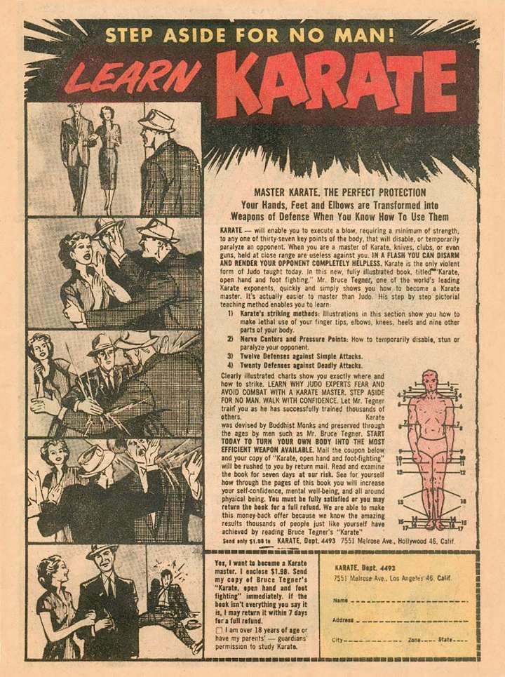 Comic book ad for Karate Open Hand and Foot Fighting