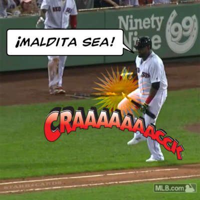 David Ortiz breaks his bat after hitting a single
