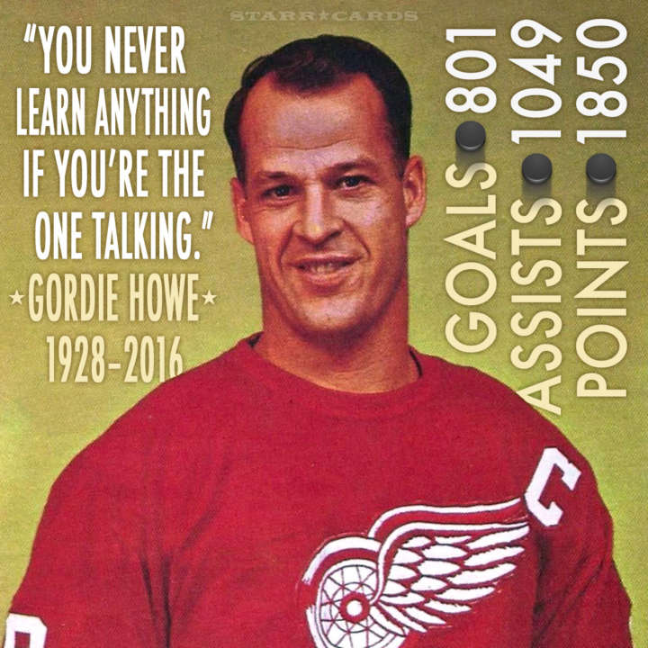 Detroit Red Wings legend Gordie Howe quote and infographic