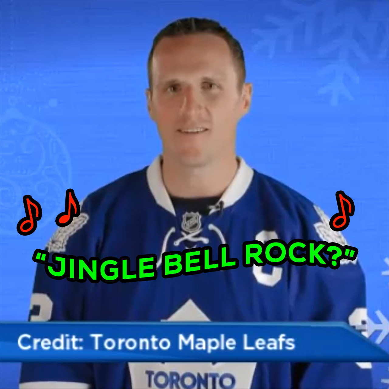 "Dion Phaneuf, Maple Leafs try to sing ""Jingle Bell Rock"""