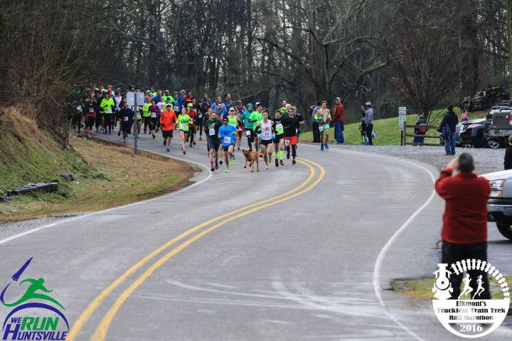 Dog runs 2016 Elkmont Trackless Train Trek Half Marathon