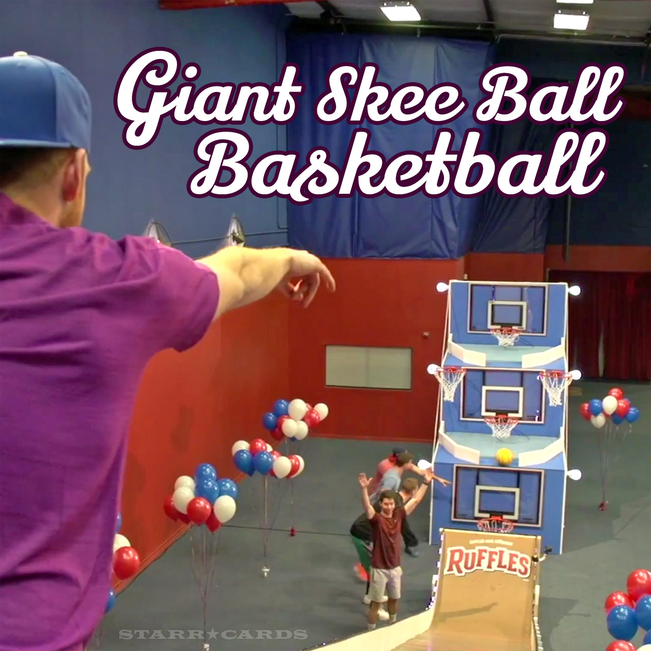 Dude Perfect plays giant skee-ball basketball