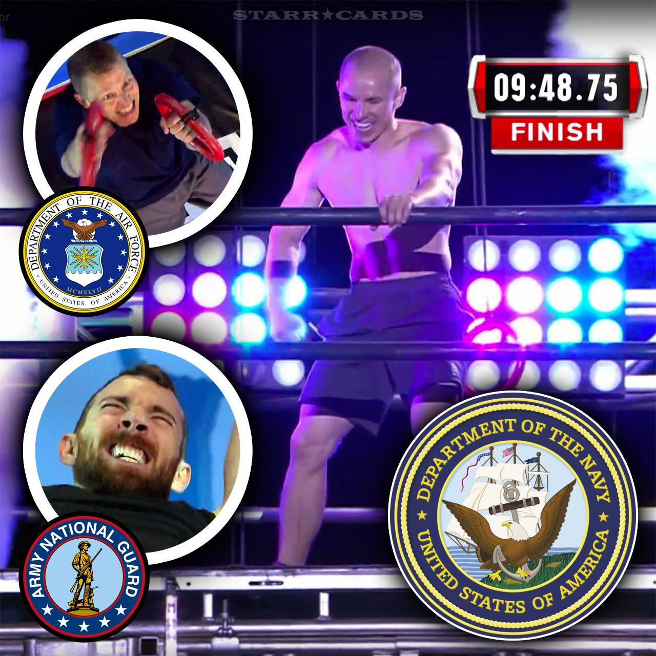 Dustin McKinney, Matthew Jensen, and Ryan Stratis on 'American Ninja Warrior' Military Finals