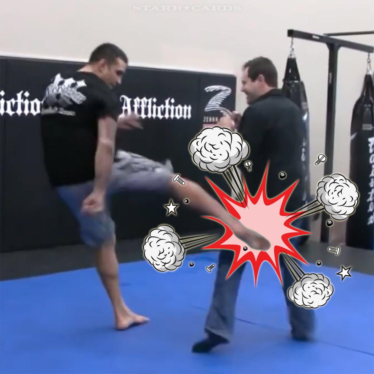 Fabricio Werdum demonstrates leg kick on MMA reporter Aaron Tru