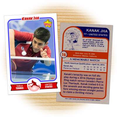 Fan card of American table tennis Olympian Kanak Jha