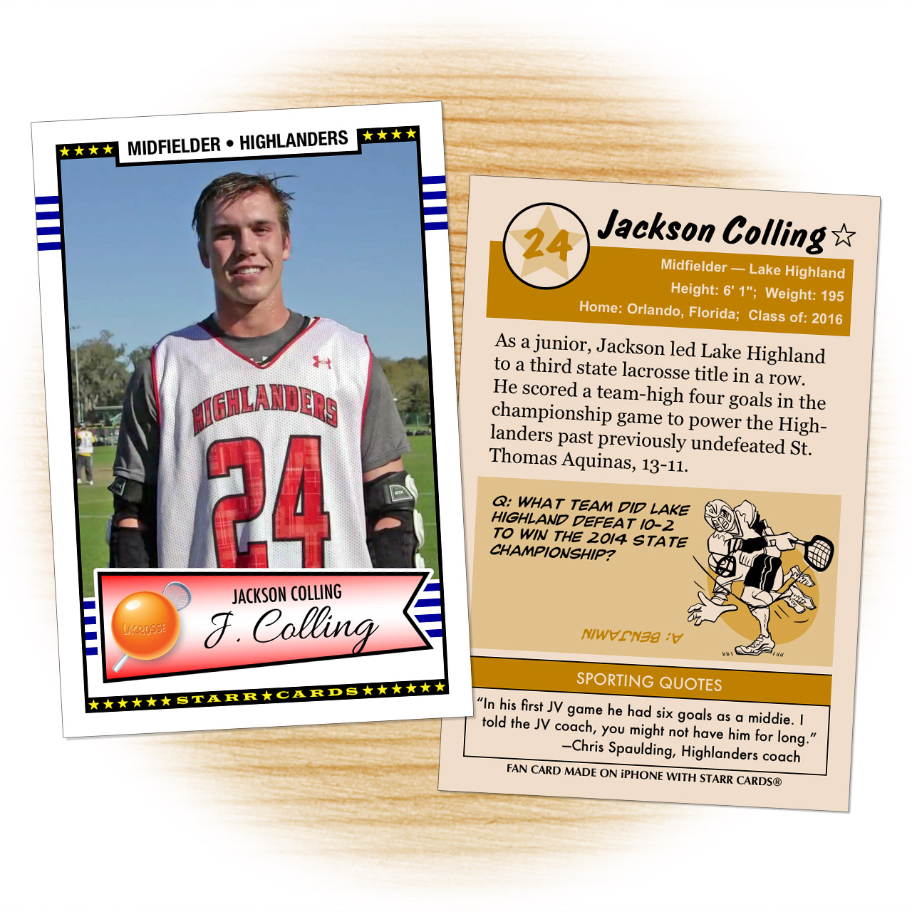 Fan card of Lake Highland Highlanders lacrosse midfielder Jackson Colling