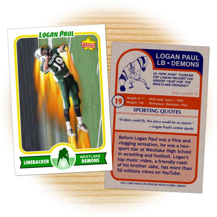 Fan-made Westlake Demons football card of Logan Paul