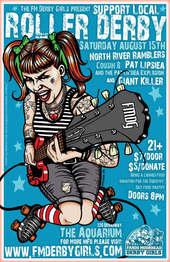 Fargo Moorhead Roller Derby poster by Athena Funk