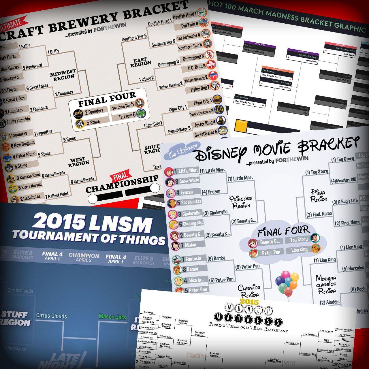 Final Four brackets including craft breweries, Hot 100, Munch Madness and Disney movies