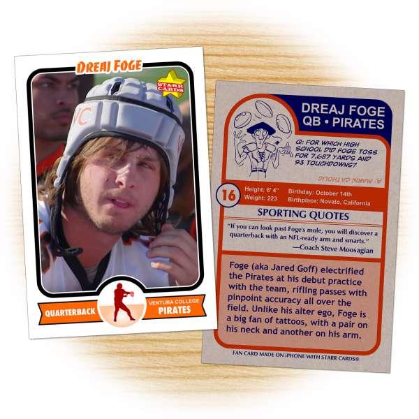 Football card of Ventura College Pirates quarterback Draej Foge (aka Jared Goff)