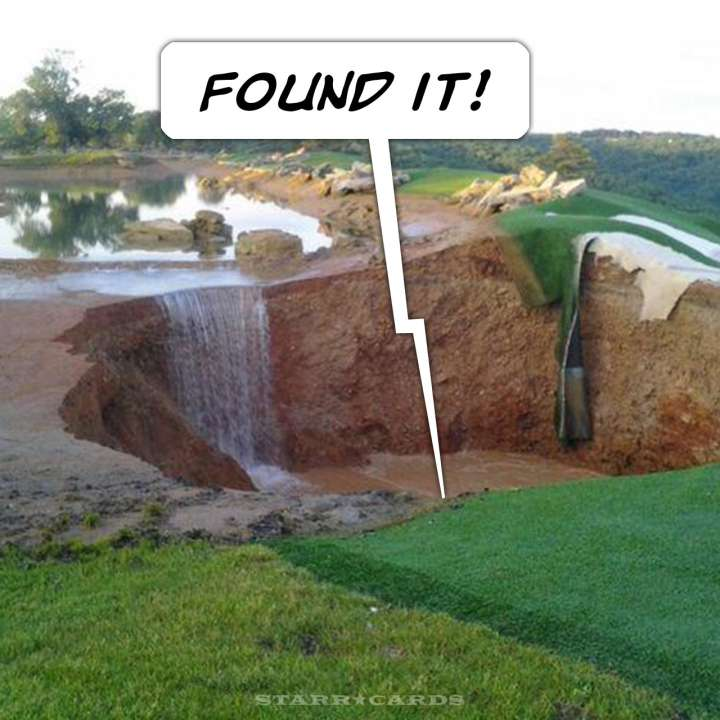 Golf course sinkhole in Branson, Missouri
