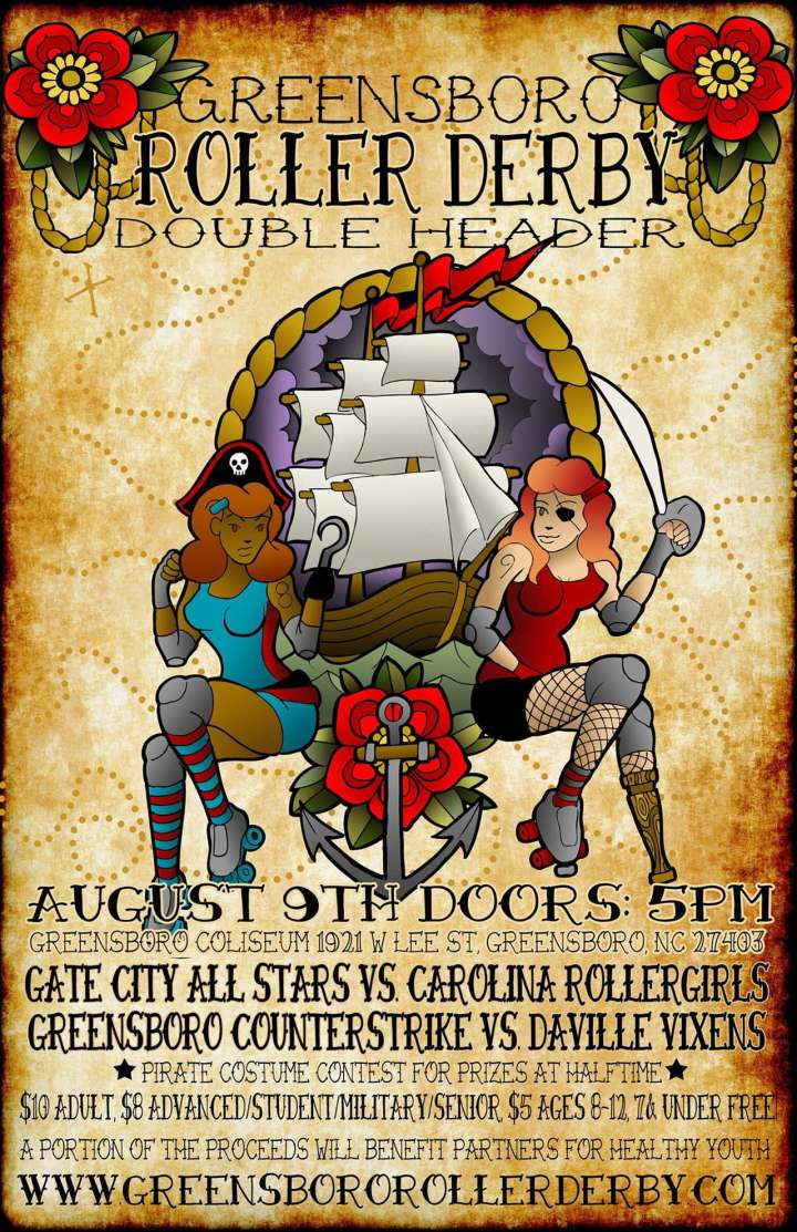 Greensboro Roller Derby double header poster