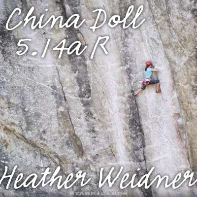 Heather Weidner first woman to ascend 5.14a-R graded China Doll in Colorado