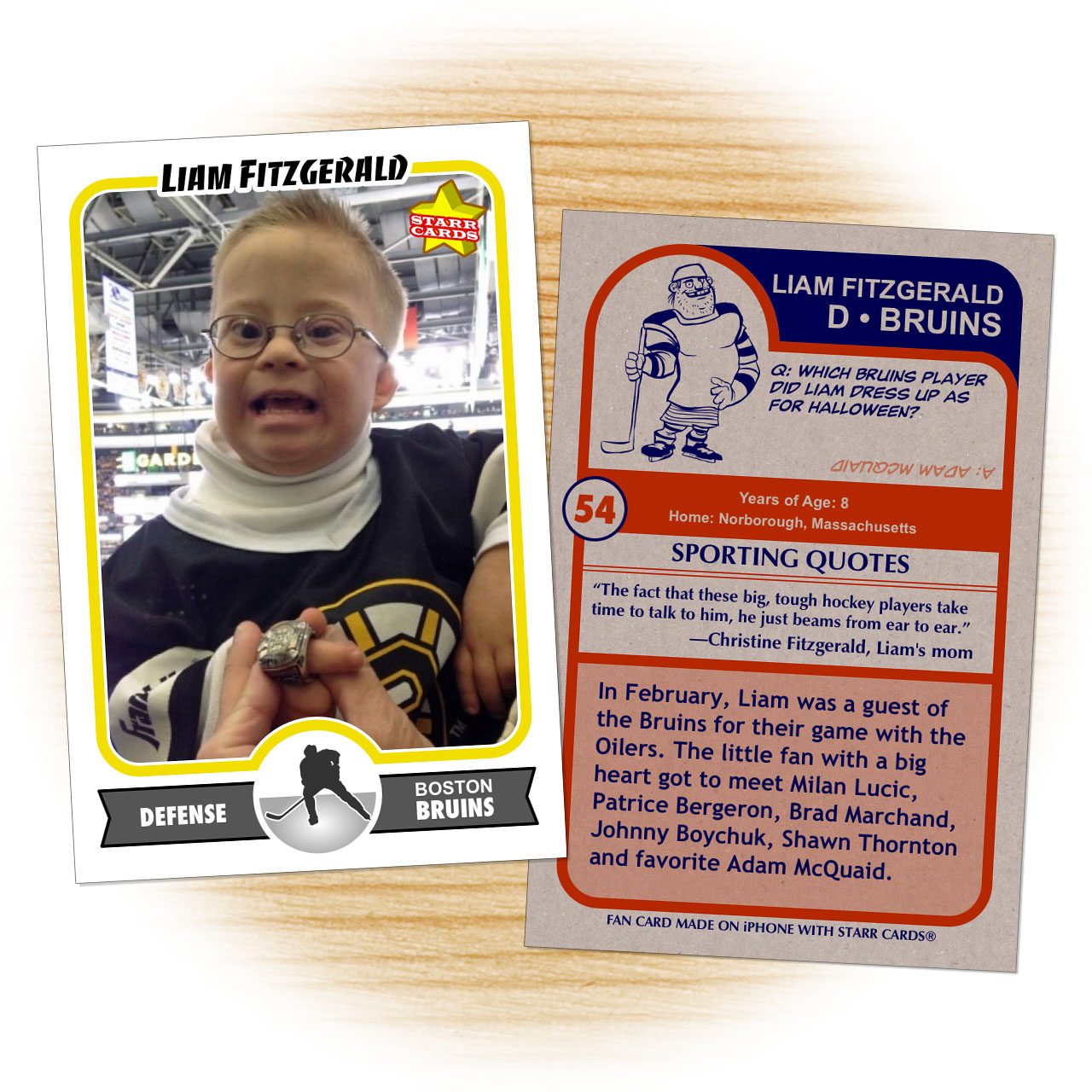 Hockey card of Bruins superfan Liam Fitzgerald