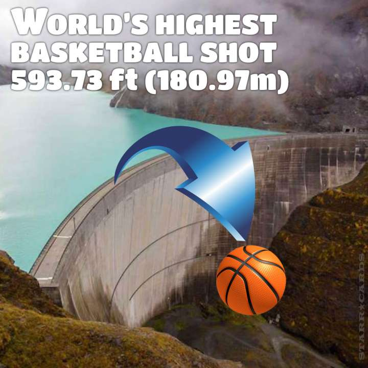 How Ridiculous nails the world's highest basketball shot at 593.73 ft (180.97m)