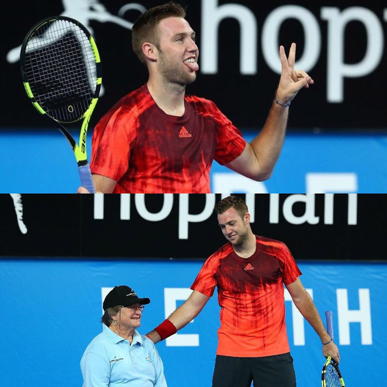 Jack Sock shows off his sportsmanship versus Lleyton Hewitt