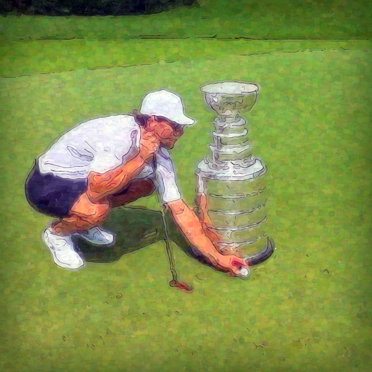 Jarret Stoll plays golf with the Stanley Cup