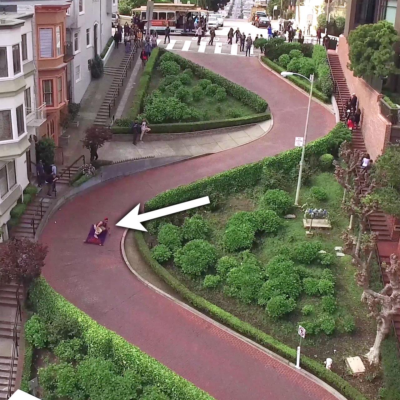 Jesse Wellens pulls Aladdin skateboard prank in San Francisco