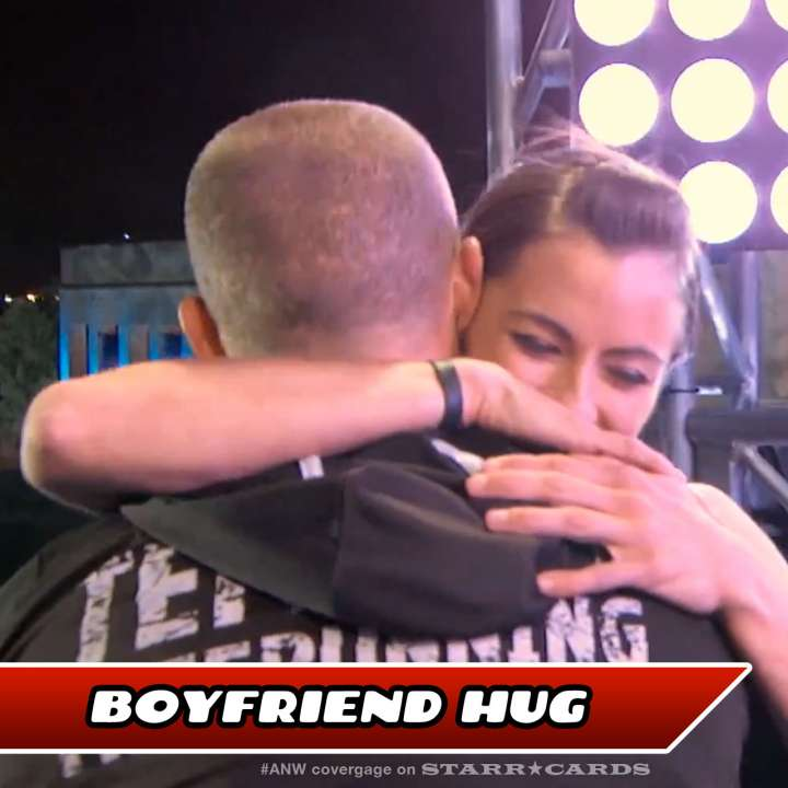 Kacy Catanzaro hugs boyfriend Brent Steffensen after completing American Ninja Warrior finals course.