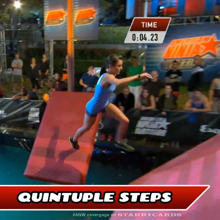 Kacy Catanzaro takes on the Quintuple Steps on American Ninja Warrior.