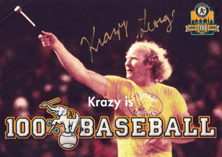 Krazy George cheerleading for the Oakland Athletics