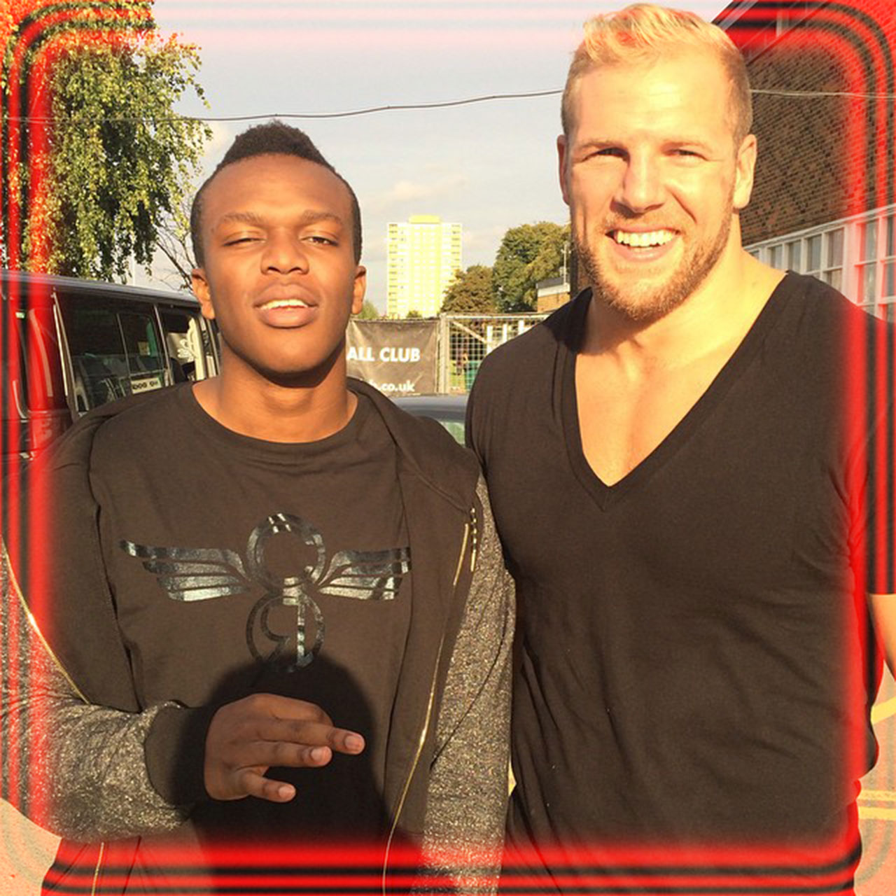 KSI gets trained in rugby by London Wasps flanker James Haskell