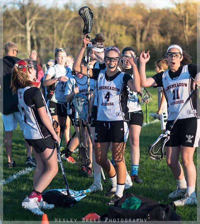 Longmeadow Girls Lacrosse Team with Brynn Cartelli (No. 4)