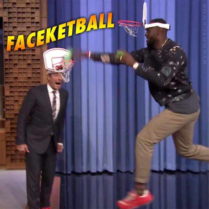 LeBron James double dunks on Jimmy Fallon in faceketball duel