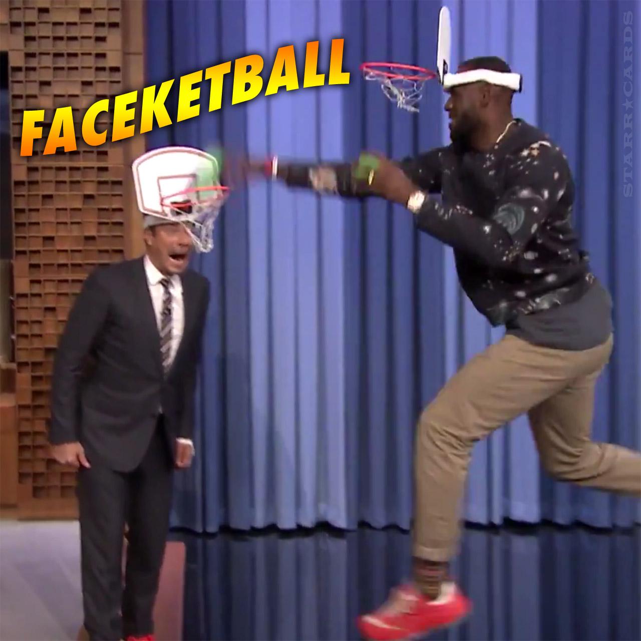 LeBron James double dunks on Jimmy Fallon in faceketball duel