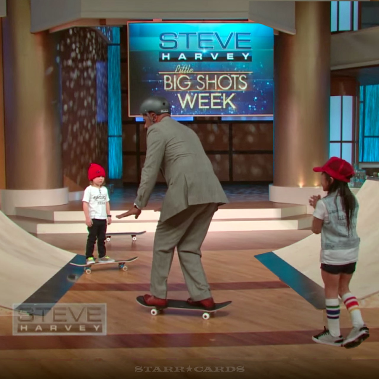 Lil' skateboarders Sky Brown and her brother Ocean coax Steve Harvey to give it a try