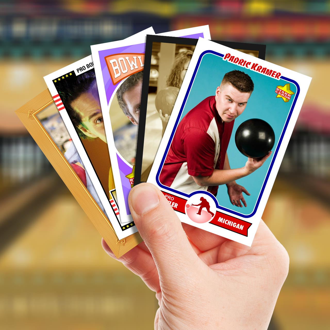 Make your own bowling card with Starr Cards.
