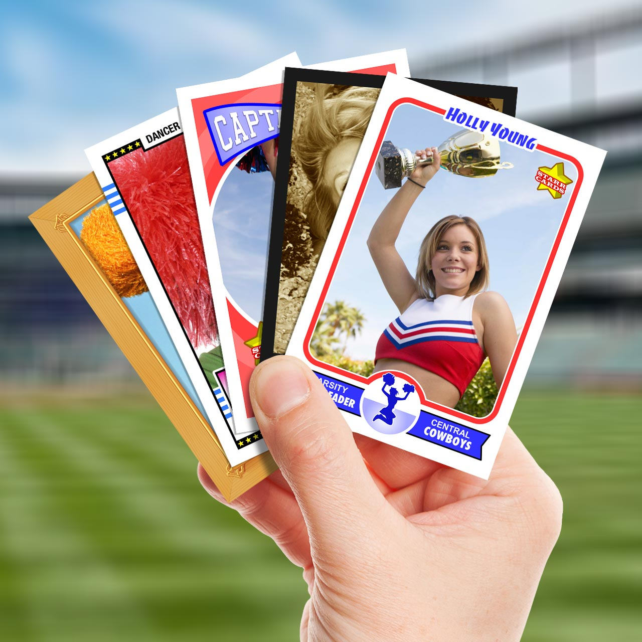 Make your own cheerleader card with Starr Cards.