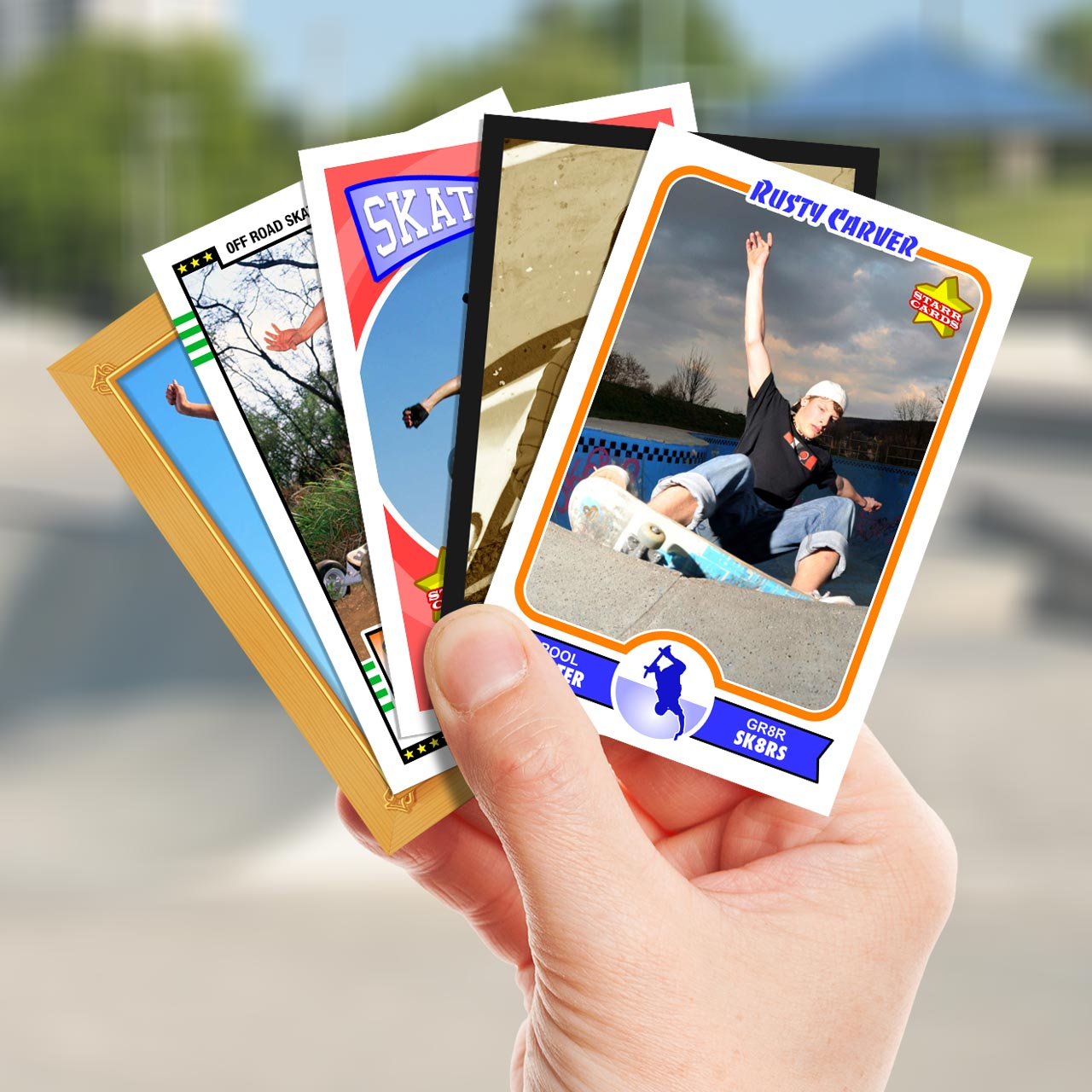 Make your own skateboarding card with Starr Cards.